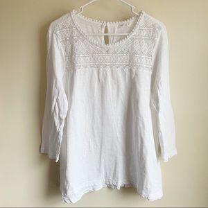 Gap Lace Crochet Yoke White 3/4 Sleeve Blouse